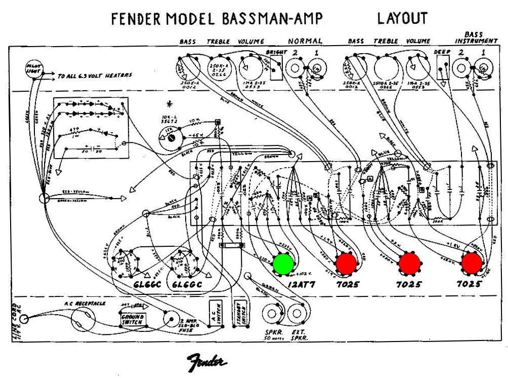 Fender Bassman Amp AB165 preamp tubes