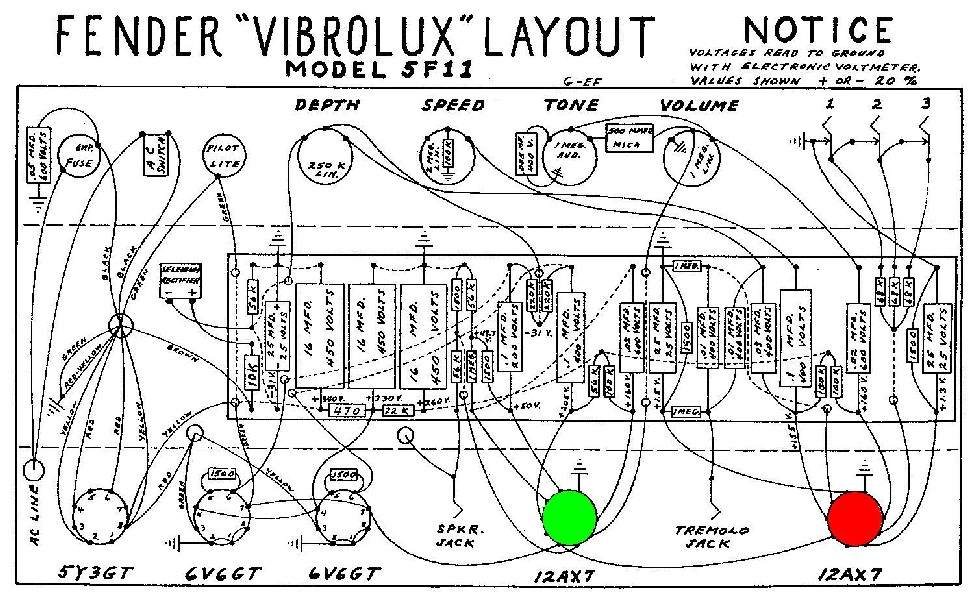 Fender Vibrolux Preamp Tube Layout